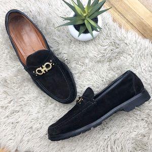 •SALVATORE FERRAGAMO• Black Suede Geneva Loafers